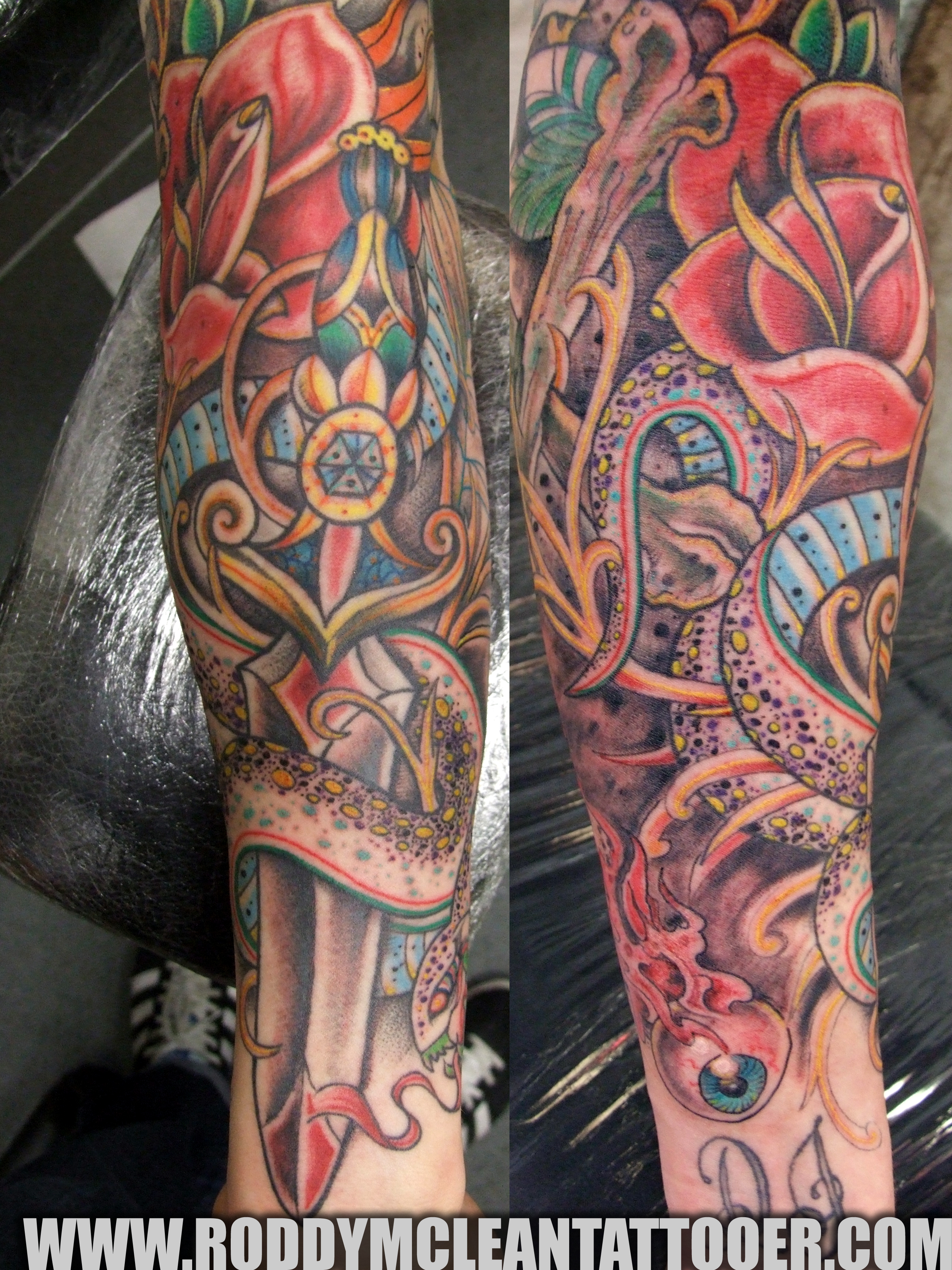 Sleeve works roddy mclean tattooer for How to blend tattoos into a sleeve